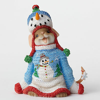 Charming Tails Fits Perfect Ugly Blue Sweater Mouse Figurine 4046953 Christmas