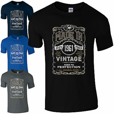 Made in 1961 T-Shirt Born 58th Year Birthday Age Present Vintage Funny Mens Gift