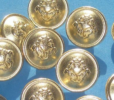 """KNIGHT Picture Set 12 Vintage New Gold Metal Military Style buttons 3/4"""""""