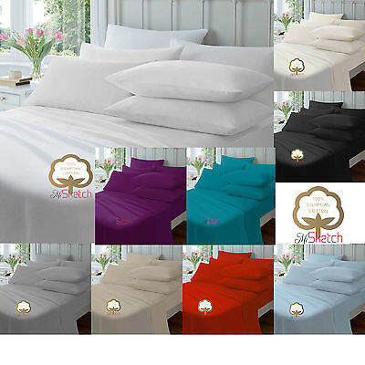 "100% Egyptian Cotton Deep Fitted Sheet 40CM/16"" Single Double King Super King"