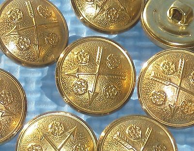"""Crossed ARROWS and FLOWER picture set 10 vintage new METAL buttons 13/16"""""""