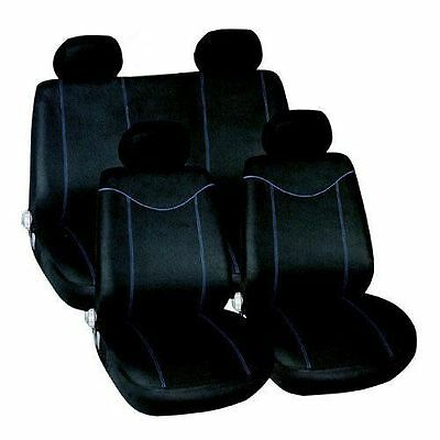 10pc UNIVERSAL BLACK / BLUE CAR SEAT COVERS PROTECTORS FULL REAR COVER SET NEW