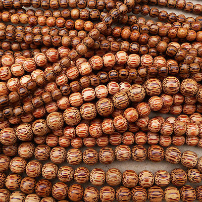 Natural Palm Wood Round Beads Various Sizes 16'' Strand