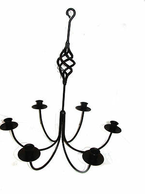 Black Wrought Iron 6 Arm Candle Chandelier BC USA Made Farmhouse Indoor Outdoor