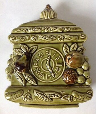 Tilso Kitchen Clock Wall Pocket Planter w Fruit Avocado Green Japan Vintage MCM