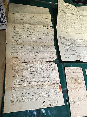 New Hampshire Handwritten Land Deeds Lot Of 15 Cheshire County 1820-1860 Antique