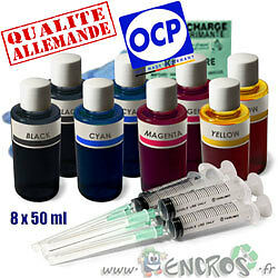 Recharge Kit Encre 8x50ML Couleurs universelles pour BROTHER