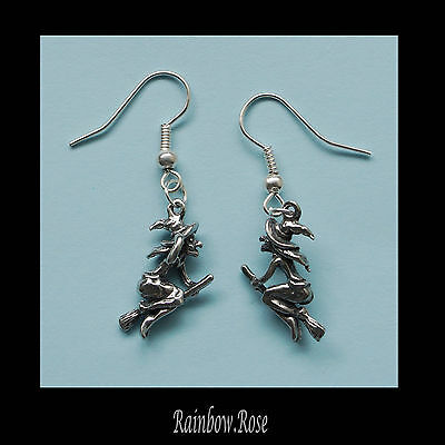 Pewter Earrings #236 Witch on Broom 3D - small 20mm