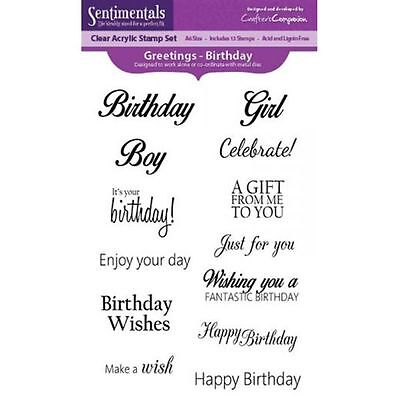 Crafters Companion SENTIMENTALS Clear Stamps GREETINGS Birthday Boy Girl Wishes