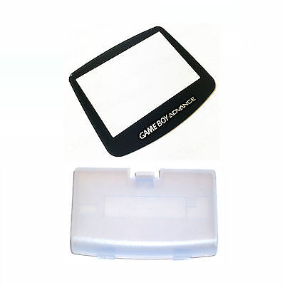New GLACIER Game Boy Advance Battery Cover + GLASS Screen Lens GBA Replacement