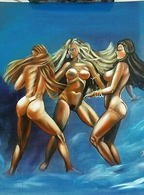 The three graces by pallominy after Frazetta oil on wood panel 24x 24 inches