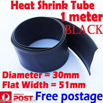 Heat Shrink tube Heatshrink tubing Sleeving BLACK Dia=30mm 1meter  AU STOCK