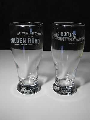 2 Golden Road Brewery IPA Point the Way Glasses Beer Pub Bar Glass stemware Pint