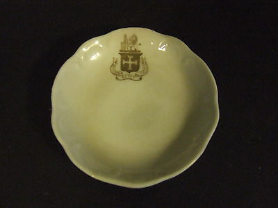 Antique Porcelain Butter Pat W/ Coat Of Arms Fortiter Gerit Crucem