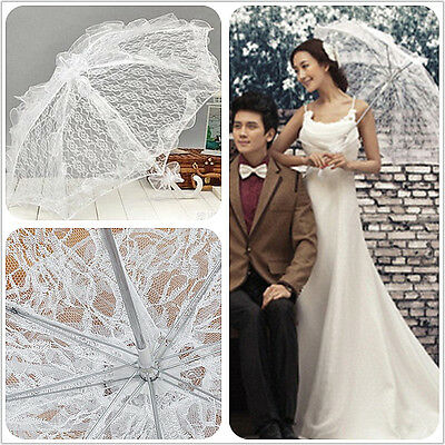 Elegant Handmade White Lace Parasol Wedding Bridal Party Sun Umbrella Battenburg