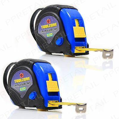 2x 5M Rubber Coated Measuring Tape MEDIUM Highly Durable Toolbox Essential