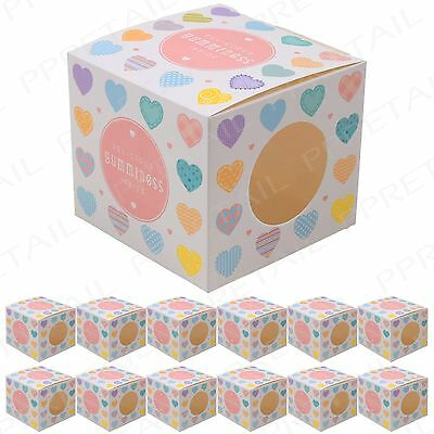 12Pc Cupcake Boxes LOVE HEART DESIGN Muffin/Fairy Cakes/Biscuit Holder Party