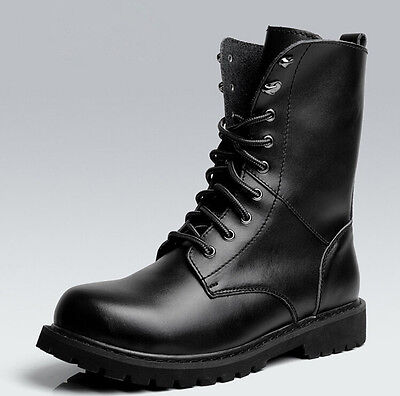 Men Combat Leather Lace Up Military Army Hiking Shoes Ankle Boots Black