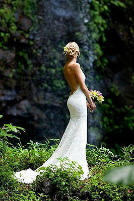 Sexy Backless Lace White/Ivory Mermaid Wedding Dress Bridal Gown Custom Size Hot