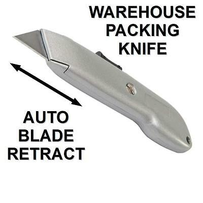 SPRING LOADED SAFETY WAREHOUSE PACKING KNIFE AUTO RETRACT STANLEY BLADE not incl