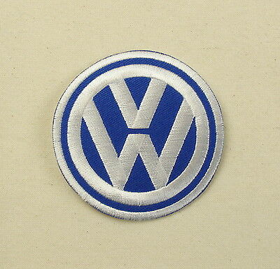 VW Iron or sew on embroidered patch  Blue Large split bay camper golf polo