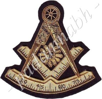Masonic Past Master Emblem Golden Bullion Patch Hand Embroidered (Me-082 G)
