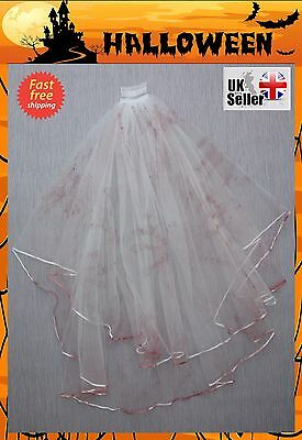 Halloween Bridal Veil Hen Night Fancy Dress Costume Party Bride To Be Haunted