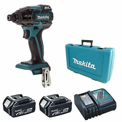 Makita 18V Dtd129 Impact Driver, 2 Bl1840 Batteries, Dc18Rc Charger & Case