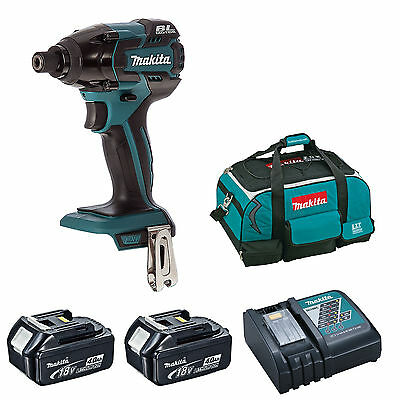 Makita Dtd129 Impact Driver 2 Bl1840 Batteries Dc18Rc Charger 4 Piece Bag