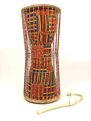 Large Talking Drum with Kente cloth finish (Ghana)