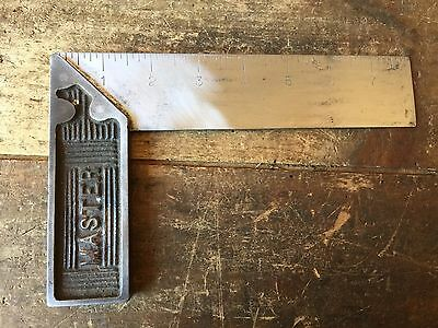 Vintage 8inch MASTER Engineers SQUARE Old Antique Marking Hand Tool #24