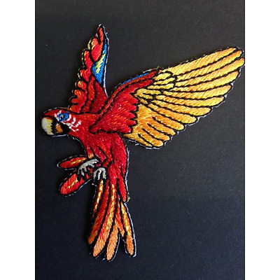 Flying Parrot Bright Colourful Animal Iron On Craft Motif Stylish Patch