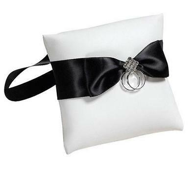Dog Ring Pillow / Cushion in White With Black Ribbon For Wedding Ring Bearer