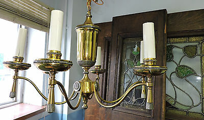 "Vintage Regency Style 6 Arm Light Brass Chandelier Fixture Ornate (24"" Diameter)"