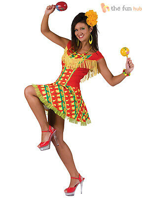 Ladies Sexy Mexican Chilli Print National Fancy Dress Costume Womens 10 12 14