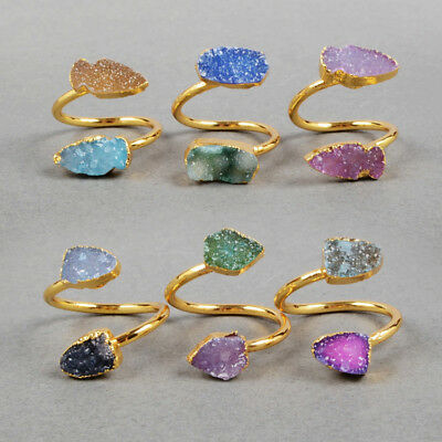 Adjustable 5Pcs Two Stone RANDOM Color Agate Druzy Gold Plated Ring FREE BG0326