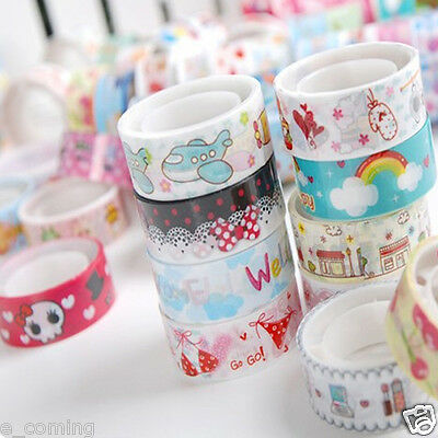10pcs Supper Cute Mixed Colors Washi Tape Hobby Decorative Crafting Tape Scrap