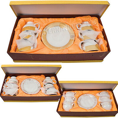 12Pc Cup & Saucer Set Gift Box Fine China Tea Cups Kitchen Espresso Coffee Plate