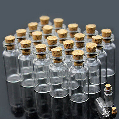 10/20/30/50 0.5ml 18x10mm Mini Clear Glass Bottle Vial Storage with Cork Stopper