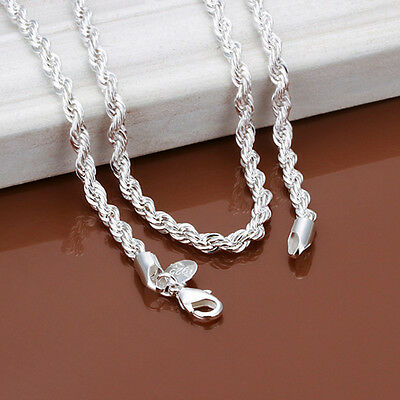 925 sterling solid silver 4MM snake Rope chain Men necklace 16-24 inch LFSN067