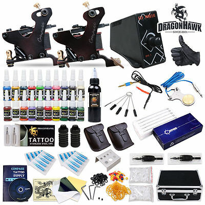 Professional Compass Tattoo Kit 2 Top Machine Gun Cook Series 20 Color Ink