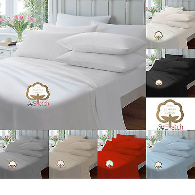 100% Egyptian Cotton Flat Single Double King Percale Sheets! Luxury Flat Sheets