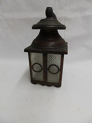Vintage Copper Porch Sconce Light Fixture Arts Crafts Pebbled Glass Old 4793-15