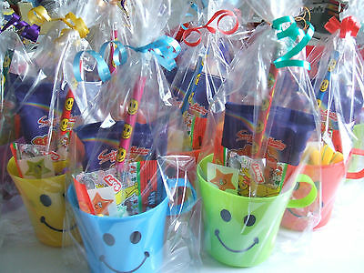 15 Pre Filled Children's Smiley Cup Party Loot Favour In Cello Bag With Ribbon