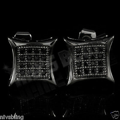 18k Black Gold Bling Out ICED Micropave Stud Square Hip Hop AAA CZ Earring 5M