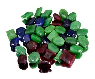 350ct / 41pcs Natural Emerald Ruby Sapphire Ring Size Gemstone Wholesale Lot