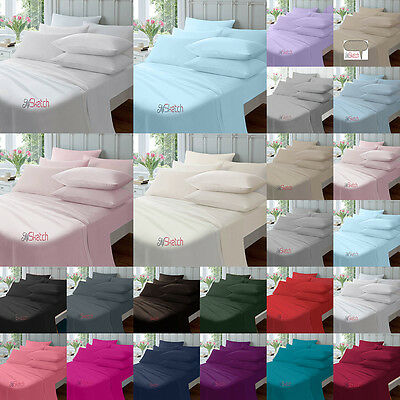 "Extra Deep Fitted 16""/40Cm, Fitted 9""/23Cm Percale Flat Sheets All Sizes"