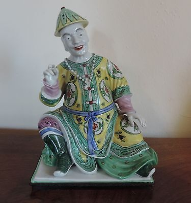 Antique French Paris Porcelain Figure of Chinese Mandarin 19th c. Incense Burner