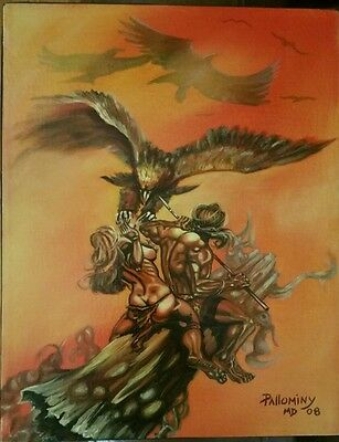 Boris vallejo style painting Barbarian couple under attack by pallominy oil