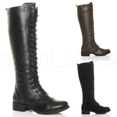 Womens Ladies Low Block Heel Lace Up Zip Knee High Calf Biker Military Boot Size